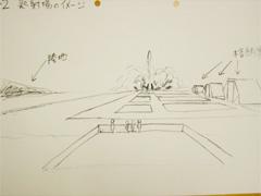 シャトル発射場のイメージ(作画・堀)