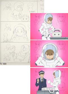 絵コンテはアニメの設計図です。絵コンテにどおりに作画・仕上げがなされる