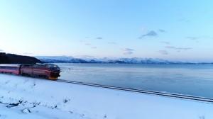 フィヨルドと列車